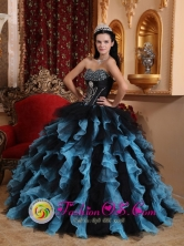 Black and Sky Blue Exclusive For 2013 Manzanares Colombia Spring Quinceanera Dress Sweetheart Organza Beading Stylish Ball Gown Style QDZY472FOR
