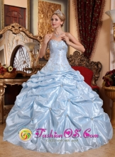 Bosconia Colombia Baby Blue Ball Gown Sweetheart Floor-length Taffeta Embroidery with Beading Quinceanera Dress Style QDZY040FOR