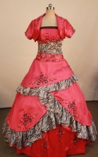 Brand New Ball Gown Strapless Floor-length Red Satin Embroidery Quinceanera dress Style FA-L-403