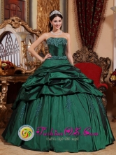 Custom Made Emerald Green Quinceanera Dresses with Beads and Pick-ups 2013 Neira Colombia Strapless Style Style QDZY657FOR