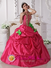 Custom Made Ruffled Hot Pink Hand Made Flowers Quinceanera Dresses With Beading For 2013 ElCerrito Colombia Summer Style  QDZY661FOR