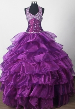 Elegant Ball Gown Halter Floor-length Eggplant Quinceanera Dress LJ2648