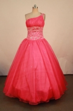 Elegant Ball Gown One Shoulder Floor-length Red Beading Quinceanera dress Style FA-L-404