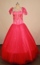Elegant Ball Gown Strapless Floor-length Red Beading Quinceanera dress Style FA-L-413