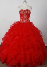 Elegant Ball Gown Strapless Floor-length Red Quinceanera Dresses LJ2601