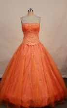 Elegant ball gown strapless floor-length appliques with beading orange red quinceanera dresses FA-X-061