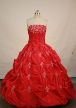 Elegant ball gown strapless floor-length taffeta red appliques quinceanera dresses FA-X-011