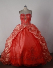 Exclusive Ball Gown Sweetheart Brush Orange Red Quincenera Dresses TD26008