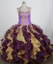 Exquisite Ball Gown Halter Top Floor-length Quinceanera Dress ZQ12426052