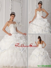 Exquisite White Sweetheart Quinceanera Gowns with Beading QDZY465DFOR