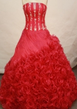 Sweet Ball Gown Strapless Floor-length Red Quinceanera Dresses Style LJ0424012