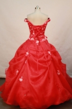 Gorgeous ball gown off the shoulder floor-length organza appliques red quinceanera dresses FA-X-029