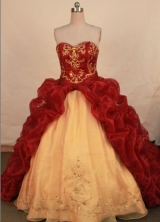 Gorgeous ball gown sweetheart-neck chapel organza beading quinceanera dresses FA-X-157