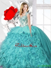 Latest Ball Gown Straps Quinceanera  Dresses with Appliques  SJQDDT128002FOR