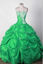 Lovely Ball Gown Sweetheart Floor-length Green Quincenera Dresses TD260010