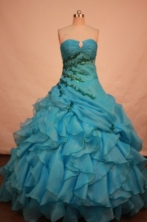 Lovely ball gown sweetheart-neck floor-length organza appliques teal quinceane ra dresses FA-X-028