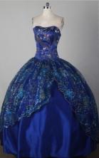 Modest Ball Gown Strapless Floor-length Blue Quincenera Dresses TD26002