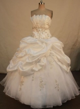 Modest ball gown strapless floor-length appliques with beading white quinceanera dresses FA-X-173