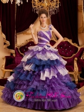 Multi-color One Shoulder Ruffles Gorgeous  For 2013 Soledad Colombia A-line Quinceanera Dress Style  QDZY125FOR