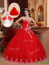 New Style Ball Gown Appliques Quinceanera Dresses in RedQDZY7527CFOR