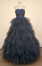Perfect Ball Gown Strapless Floor-length Navy Blue Organza Quinceanera dress Style FA-L-410