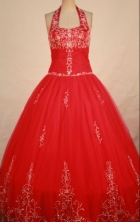 Perfect ball gown halter top floor-length red appliques quinceanera dresses FA-X-160