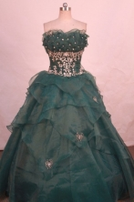 Popular ball gown strapless floor-length organza appliques dark green quinceanera dresses FA-X-170
