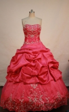 Pretty ball gown strapless floor-length taffeta embroidery coral red quinceanera dresses FA-X-058