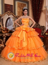 2013 Ciudad Bolivar Colombia With Bow Orange Ruffles Layered Strapless Organza Quinceanera Dress Style QDZY235FOR