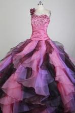 Romantic Ball Gown One Shoulder Neck Floor-length Hot Pink Quinceanera Dress X0426052