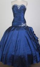 Romantic Ball Gown Strapless Floor-length Navy Blue Quinceanera Dress X0426042