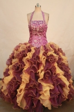 Romantic ball gown halter top floor-length quinceanera dresses Style X042471