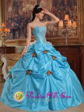 San Antero Colombia Fall Gold Flower Decorate With Strapless Sky Blue Quinceanera Dress Style QDZY382FOR