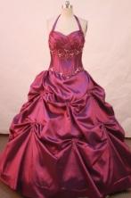 Simple ball gown halter top floor-length satin Fuchsia appliques quinceanera dresses FA-X-031