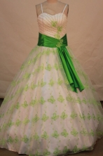 Special ballgown straps sweetheart-neck floor-length sash with green quinceanera dresses FA-X-036