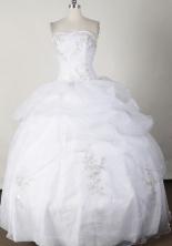 Sweet Ball Gown Strapless Floor-length White Quinceanera Dress LJ2647