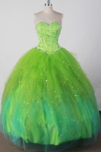 Sweet Ball Gown Sweetheart Neck Floor-length Green Quincenera Dresses TD260036