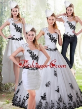 The Most Popular White and Black Sweetheart 2015 Quinceanera Dress with Black Embroidery ZY734TZA2FOR