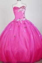 The Super Hot Ball Gown Strapless Floor-length Hot Pink Quinceanera Dress X0426064