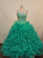 The super hot ball gown sweetheart-neck floor-length organza Green quinceanera dresses LJ424005