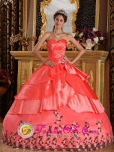 Toribio Colombia Watermelon Red For Affordable Appliques And Ruffles Decorate Sweetheart Quinceanera Dress  Style QDZY199FOR