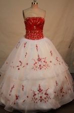 Wonderful ball gown strapless floor-length embroidery with beading white quinceanera dresses FA-X-01