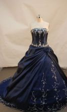 Special ball gown strapless chapel taffeta appliques with beading navy blue quinceanera dresses FA-X-008