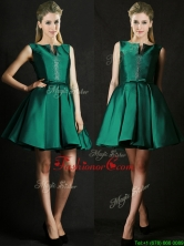 2016 Classical A Line Green Short Prom Dress with Beading and Belt BMT0150FOR