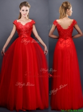 2016 Classical Beaded V Neck Red Prom Dress with Cap Sleeves BMT0158-1FOR