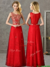 2016 Classical V Neck Red Prom Dress with Appliques and Beading BMT0139-1FOR