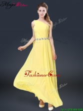 2016 Fashionable One Shoulder Prom Dresses in Yellow BMT067FOR