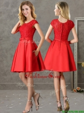 2016 Gorgeous Scoop Cap Sleeves Red Prom Dress with Lace and Bowknot BMT0132-1FOR