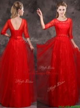 2016 Latest Applique and Beaded Red Prom Dress in Tulle and Lace BMT0160-2FOR