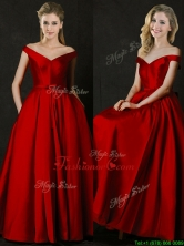 2016 Latest Bowknot Wine Red Long Prom Dress with Off the Shoulder BMT0153FOR